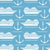 Modèle nautique sans couture avec des bateaux et des ancres illustration de vecteur