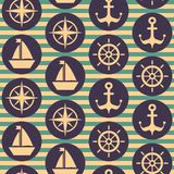 Modèle nautique sans couture avec des volants, bateaux, ancres, roses de vent illustration libre de droits