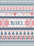 Modèle Noel inspiré par de fête, culture nordique de Noël de vecteur d'hiver dans le point croisé avec des coeurs, cadeau de Noël illustration de vecteur