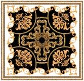 modèle noir blanc d'écharpe de fond d'ornement baroque d'or illustration stock