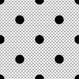 Modèle noir de dentelle avec des points de polka illustration stock