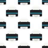 Modèle noir de Flat Icon Seamless d'imprimante Photographie stock