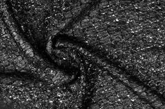 Modèle noir de fond de texture de tissu ce tissu du fabr en soie Photo libre de droits