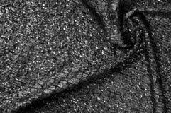 Modèle noir de fond de texture de tissu ce tissu du fabr en soie Photos libres de droits