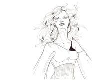 Modèle noir et blanc #2 de cheveu Image libre de droits