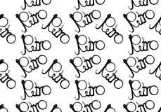 Modèle noir et blanc, conception sans couture, rétro inscription écrite dans beau, hippie, lettres bouclées et courbées sur un ba illustration de vecteur