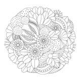 Modèle noir et blanc floral de griffonnage courant orient Images libres de droits