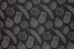 Modèle noir et blanc sans couture avec des fruits Illustration Stock