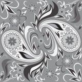 Modèle noir et blanc sans couture avec les fleurs et Paisley Impression de vecteur Image libre de droits