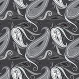 Modèle noir et blanc sans couture avec les fleurs et Paisley Impression de vecteur Photo libre de droits