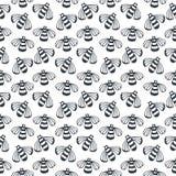 Modèle noir et blanc sans couture d'abeille de vecteur Concept pour le design d'emballage de miel, l'emballage et les copies de m illustration stock