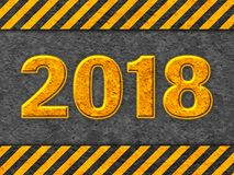 Modèle noir et orange grunge avec le texte 2018 Photos stock