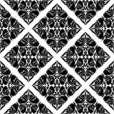Modèle noir sans couture de damassé sur le blanc Image stock