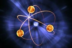 Modèle nucléaire d'atome sur le fond noir Photo stock