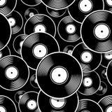 Modèle numérique sans couture avec le rétro graphique de vecteur de disque vinyle de vintage illustration stock