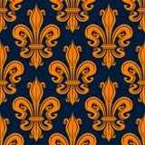 Modèle orange sans couture de fleur de lis de vintage Photos libres de droits