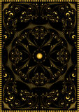 Modèle oriental d'or décoratif sur un fond noir Photographie stock