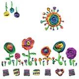 Modèle original de beauté des éléments floraux de pâte à modeler d'outils pour faire le papier de tissu ou de cadeau images stock
