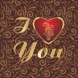 Modèle ornemental de Brown avec le coeur brillant au jour de valentines Photographie stock libre de droits