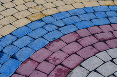 Modèle pavé en cailloutis de trottoir fait de cubes Photo stock