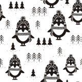 Modèle, pingouins et sapins sans couture noirs et blancs, illustration de vecteur