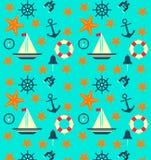 Modèle plat avec des éléments de mer Fond de mer Ligne de sauvetage, bateau, coquille, cloche, boussole, volant Photo libre de droits