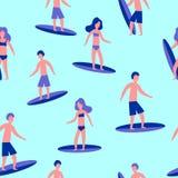 Modèle plat sans couture d'illustration de vecteur des surfers pour la copie illustration libre de droits