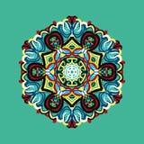 Modèle polygonal dans le style oriental avec un bon nombre d'élément coloré Photo stock