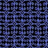 Modèle pour aquarelle sans couture bleu d'ikat sur le bacground noir photo stock