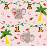 Modèle pour des enfants avec l'éléphant et le singe mignons Type de dessin animé Illustration de vecteur illustration de vecteur