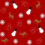 Modèle pour le papier d'emballage et rempli de cerfs communs et de bonhomme de neige Image stock