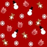Modèle pour le papier d'emballage et rempli de peluche et de bonhomme de neige Photos libres de droits