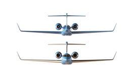 Modèle privé d'avion de conception générique de luxe brillante bleue de photo Fond blanc vide d'isolement par maquette claire Bus Photo stock