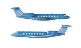 Modèle privé d'avion de conception générique de luxe brillante bleue de photo Fond blanc vide d'isolement par maquette claire Bus Images stock