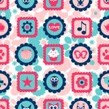 Modèle puéril sans couture avec les timbres mignons Images stock