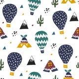 Modèle puéril tiré par la main avec le ballon et les tentes, la nature sauvage avec des montagnes et le champ Aventures de Travel illustration de vecteur