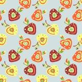 Modèle puéril tiré par la main de vecteur sans couture, frontière avec des fruits Cerise enfantine mignonne avec des feuilles, gr Images stock
