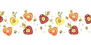 Modèle puéril tiré par la main de vecteur sans couture, frontière avec des fruits Cerise enfantine mignonne avec des feuilles, gr Image libre de droits