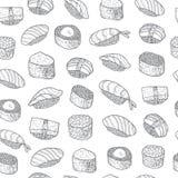 Modèle réglé de sushi Nourriture asiatique Cuisson japonaise Photo libre de droits