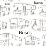 Modèle réglé par icônes d'autobus Photo stock