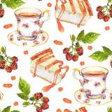 Modèle répété sans couture - la tasse de thé, baies de framboise, dessert durcit watercolor illustration de vecteur