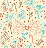 Modèle romantique abstrait sans couture. Fond mignon de dentelle avec des coeurs, des ailes d'ange, des lucettes, des prunes confi illustration stock