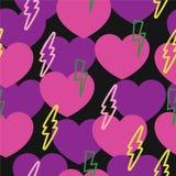 Modèle romantique avec les coeurs et la foudre Image libre de droits