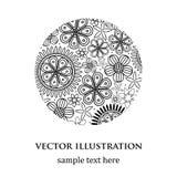 Modèle rond blanc et noir floral abstrait illustration libre de droits