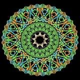 Modèle rond coloré de mandala de Paisley de dentelle Ornamental abstrait illustration de vecteur