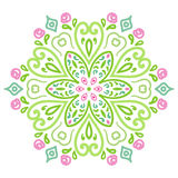 Modèle rond d'ornement avec les éléments floraux Image stock