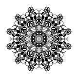 Modèle rond de dentelle de vecteur Mandala avec les fleurs ornementales Élément décoratif pour la conception et la mode Image libre de droits