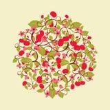 Modèle rond mignon avec les cerises et la fleur illustration stock