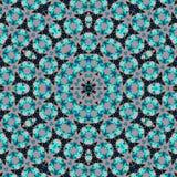 Modèle rond ornemental de dentelle de mandala dans le bleu sur le noir illustration stock