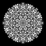Modèle rond ornemental sur le noir Image libre de droits